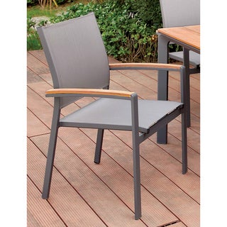 Furniture of America Reyna Contemporary Two-Tone Aluminum Oak/Grey Outdoor Dining Chair