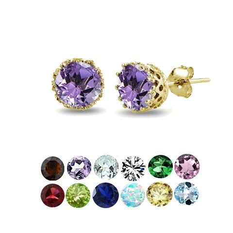 Glitzy Rocks 18k Gold over Silver Round-cut Birthstone Crown Stud Earrings