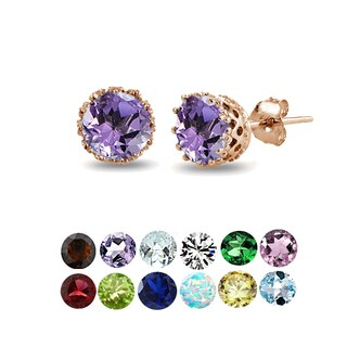 Glitzy Rocks 18k Rose Gold over Silver Round-cut Birthstone Crown Stud Earrings (More options available)