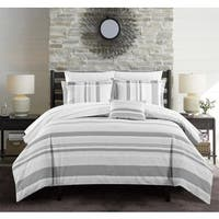Chic Home Devon 4-Piece Grey 100-percent Cotton Duvet Cover Set