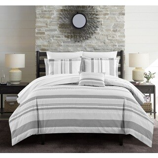 Chic Home Devon 4-Piece Grey 100-percent Cotton Duvet Cover Set