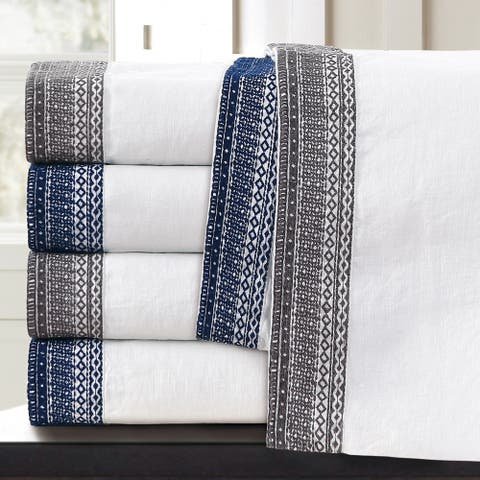 Sofia Embroidered Belgian Linen Bed Sheet Set