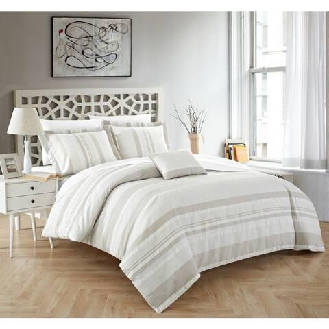 Chic Home Devon 4-Piece 100% Cotton Beige Duvet Cover Set