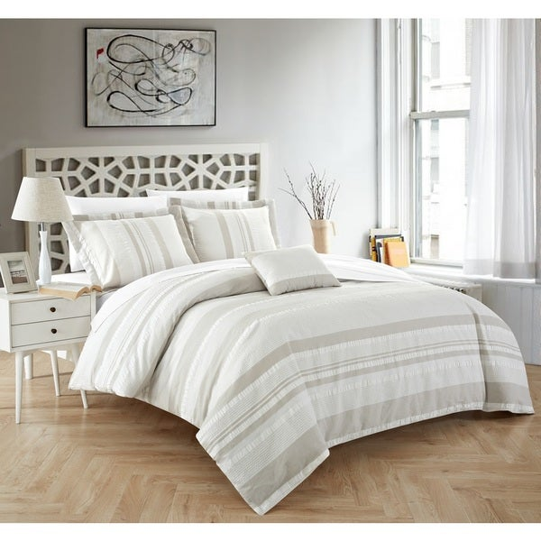 Chic Home Devon 4-Piece 100% Cotton Beige Duvet Cover Set. Opens flyout.