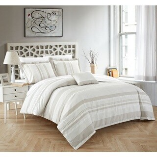 Chic Home Devon 4-Piece 100% Cotton Beige Duvet Cover Set