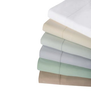 Hemstitch 400 Thread Count Cotton Sateen Weave Solid Color 4-Piece Sheet Set