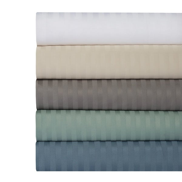500 Thread Count 100% Cotton Dobby Damask Stripe 4-Piece Sheet Set