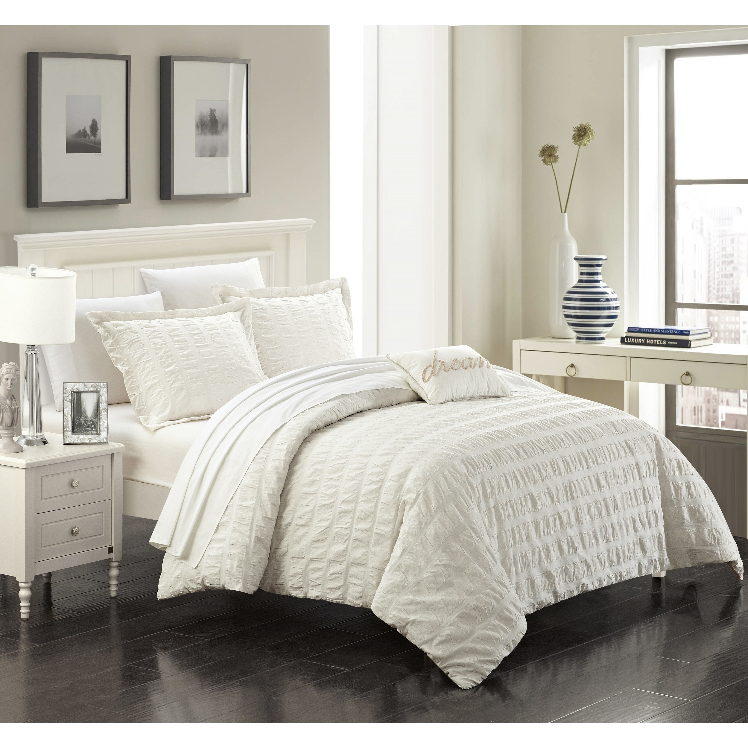 Chic Home Tornio 4 Piece Cotton Beige Duvet Cover Set Overstock 16394686 King