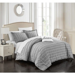 Chic Home Tornio 4-piece 100-percent Cotton Grey Duvet Cover Set