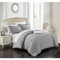 Chic Home Tornio 4-piece 100-percent Cotton Grey Duvet Cover Set