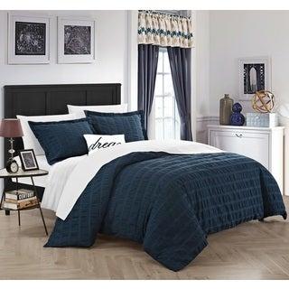 Chic Home Tornio 4 Piece 100% Cotton Navy Duvet Cover Set