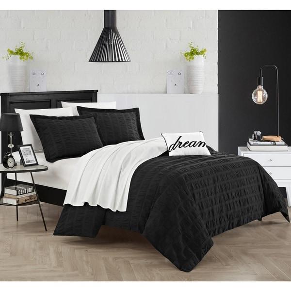 Chic Home Tornio 4-piece Cotton Black Duvet Cover Set