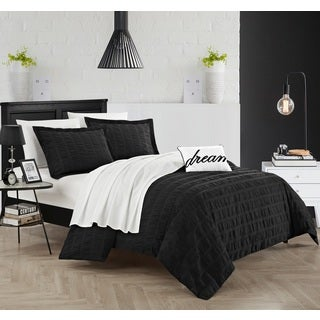 Chic Home Tornio 4-piece Cotton Black Duvet Cover Set