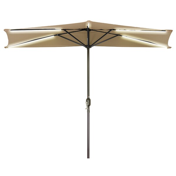 Charmant 9u0026#x27; Solar Powered LED Strip Lighted Half Patio Umbrella By Trademark  Innovations (