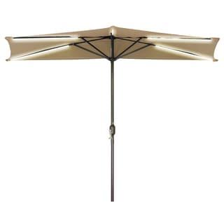 9' Solar Powered LED Strip Lighted Half Patio Umbrella By Trademark Innovations (Tan)
