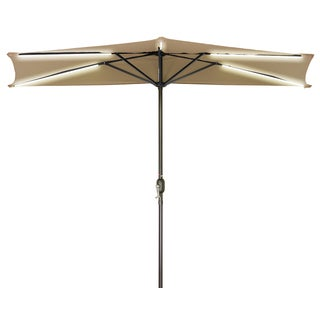 9' Solar Powered LED Strip Lighted Half Patio Umbrella By Trademark Innovations (Tan)