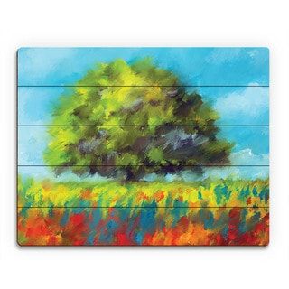 Color Brush Fields Landscape Wall Art on Wood