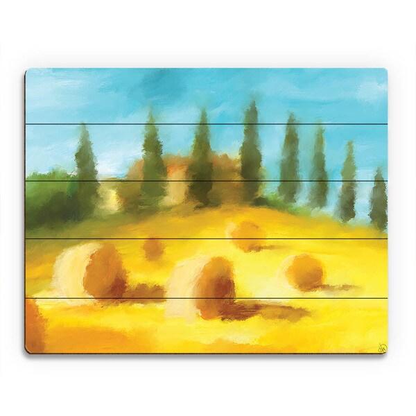 Hay Bale Hill Landscape Wall Art Print on Wood