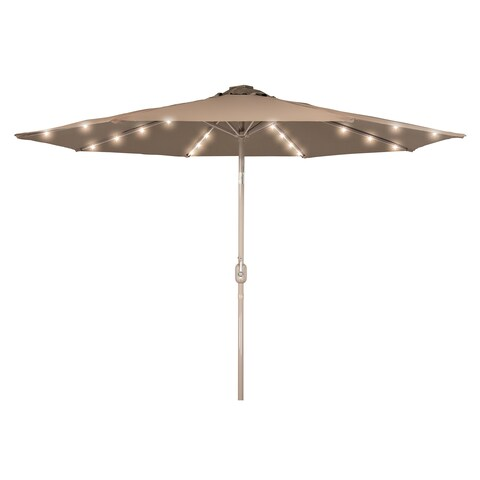 Deluxe Solar Powered LED Lighted Patio Umbrella - 9' with Champagned Color Frame - By Trademark Innovations (Tan)