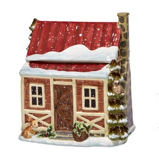 Certified International Winter's Lodge 3-D Cabin Cookie Jar