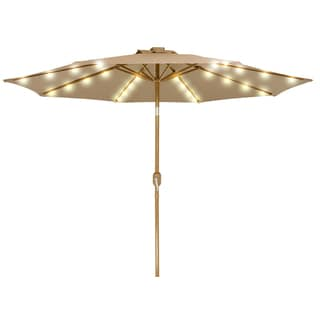9' Solar Powered LED Lighted Patio Umbrella with Bronze Finish Frame - By Trademark Innovations (Tan)