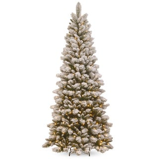 National Tree Company Snowy Westwood 7.5-foot Slim Pine Tree with Clear Lights