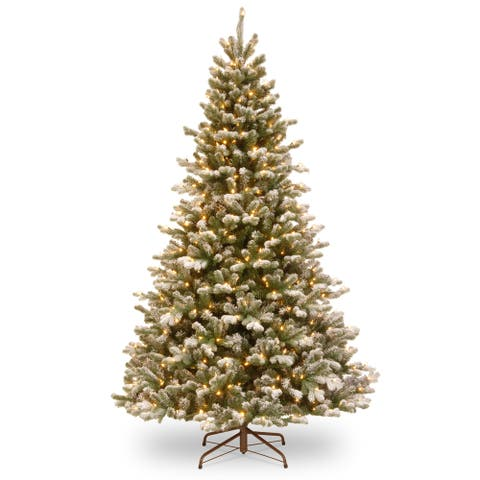 National Tree Company 7.5-foot PowerConnect Snowy Sheffield Spruce with Warm White LED Lights