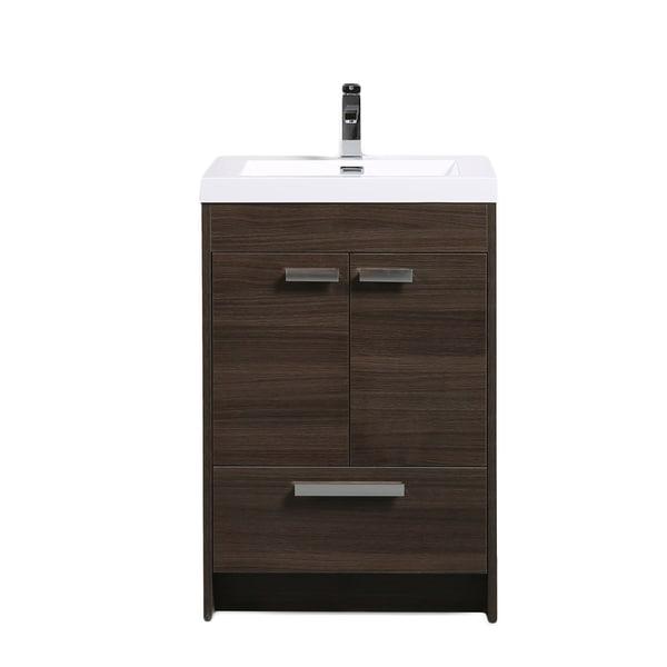 Shop eviva lugano modern grey oak 24 inch bathroom vanity with white integrated acrylic sink for Modern bathroom vanity 24 inch