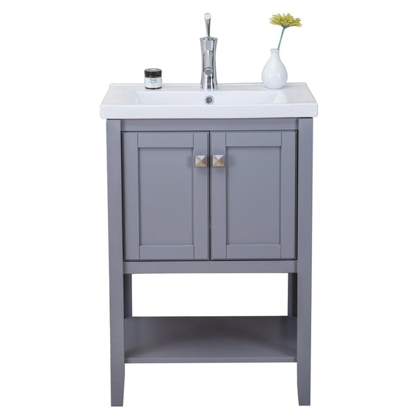 Eviva Tiblisi 24-inch Grey Modern/Transitional Bathroom Vanity with White Porcelain Sink