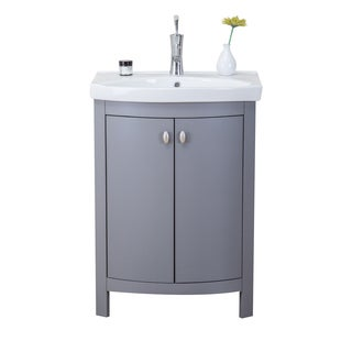 Eviva Jersey Transitional Grey 24-inch Bathroom Vanity with White Porcelain Sink