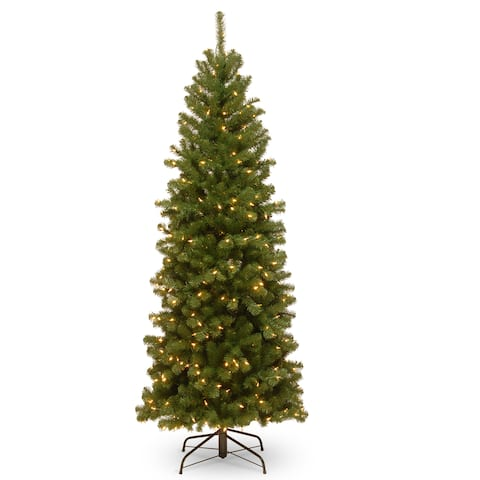 North Valley 6-foot Spruce Pencil Slim Tree with Clear Lights