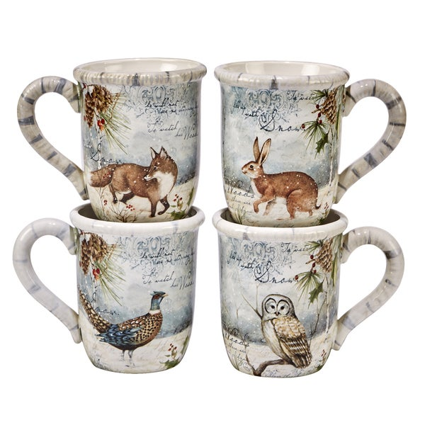 Shop Certified International Winter S Lodge Mug Set Of 4 Free Shipping On Orders Over 45