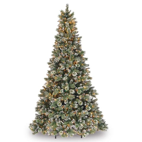 National Tree Company 9-foot Glittery Bristle Artificial Pine Tree with Clear Lights