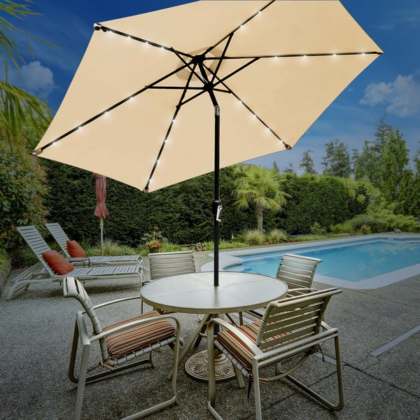 Beau Sorbus® Solar LED Outdoor Umbrella, 10 Ft Patio Umbrella With Tilt  Adjustment And Crank