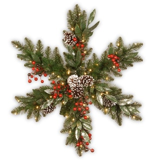 National Tree Company 32-inch Frosted Pine Berry Snowflake with Battery-operated LED Lights