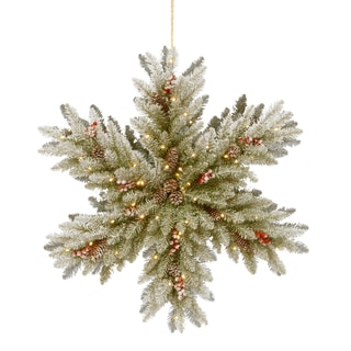 "Link to 32"" Snowy Dunhill Fir Double-Sided Snowflake with Battery Operated LED Lights Similar Items in Christmas Greenery"