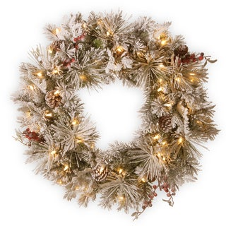 """30"""" Snowy Bedford Pine Wreath with Battery Operated LED Lights"""