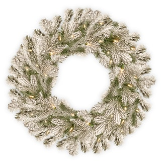 National Tree Company 24-inch Snowy Sheffield Spruce Wreath with Battery-operated Warm White LED Lights