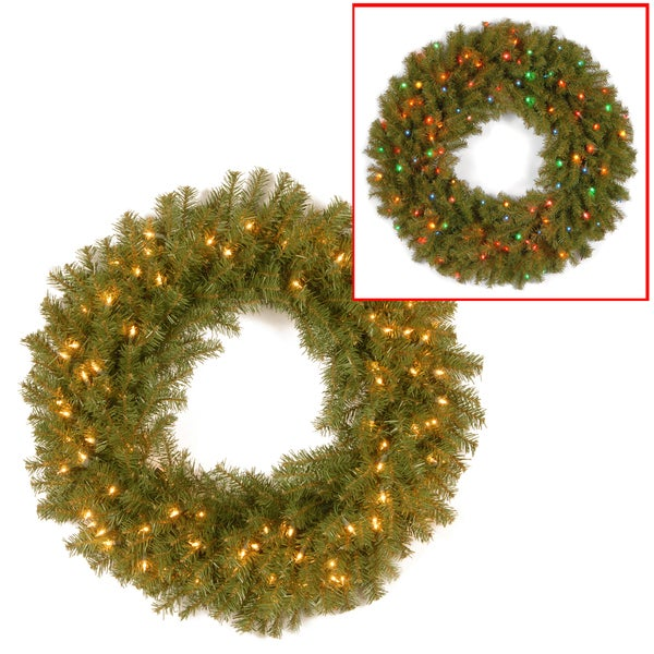 """Shop 36"""" Norwood Fir Wreath With Battery Operated Dual"""
