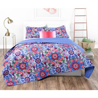 Catalina Estrada Copeton Rosal Navy/ Red Quilt Set