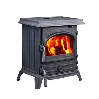 HiFlame Pony HF517UB Freestanding 1200 sq. ft. Cast Iron Wood Burning Stove Top or Rear Outlet