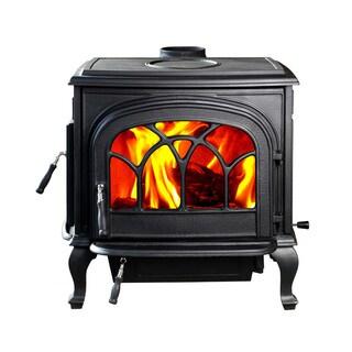 HiFlame Stallion HF737U Black Cast Iron Large Wood Burning Stove with Double Doors