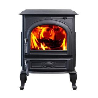 HiFlame HF717UA 1,800 sq. ft. Black Cast Iron Wood Heater Burning Stove