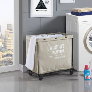 Danya B. Army Canvas Laundry Hamper on Wheels