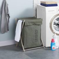 Danya B Army Canvas Laundry Hamper On Wheels Free