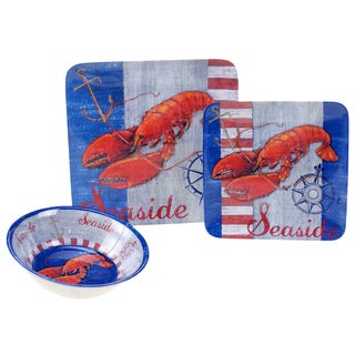 Certified International Maritime Lobster Melamine 12-piece Dinnerware Set