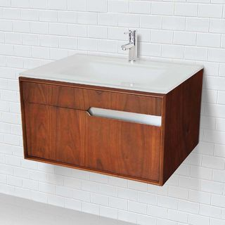Decolav Walnut-finish Wall-mount Vanity with Glass Countertop