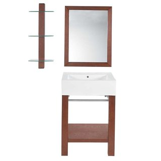 Decolav Infusion Collection Cognac Wood Wall-mounted Lavatory Console with White Vitreous China Countertop