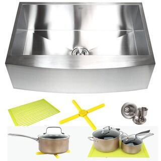 Ariel 30-inch Stainless Steel 16-gauge Farmhouse Single Bowl Curve Apron Kitchen Sink Combo