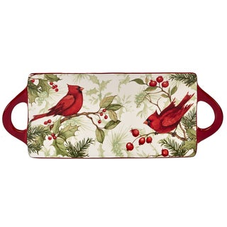Certified International Winter Field Notes Rectangular Platter with Handles